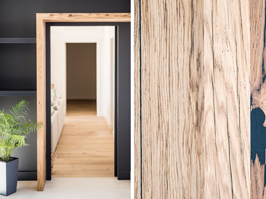 Wooden Door and Kitchen, Crack Oak, Project by Antoine Duverger
